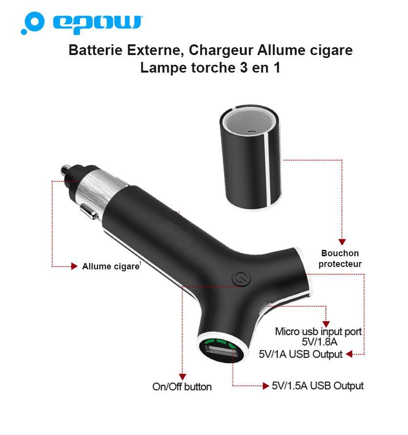chargeur allume cigare batterie externe voiture